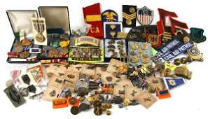 MASSIVE LOT WWI TO VIETNAM BADGE PATCH  INSIGNIA