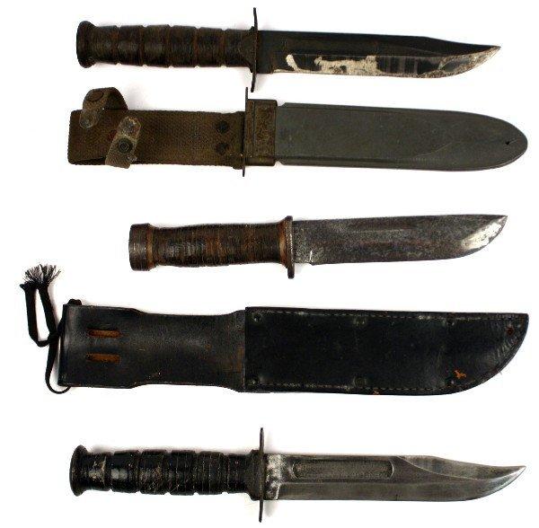 WWII FIGHTING KNIFE LOT USN MK II & CATTARAUGUS