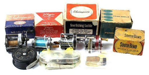 LOT OF 9 VINTAGE FISHING REELS BOXES & PARTS