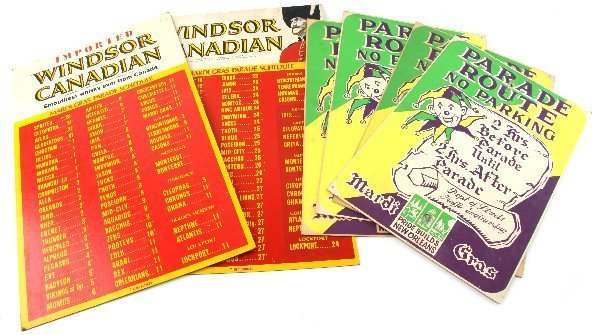 GROUP OF VINTAGE MARDI GRAS PARADE ROUTE SIGNS