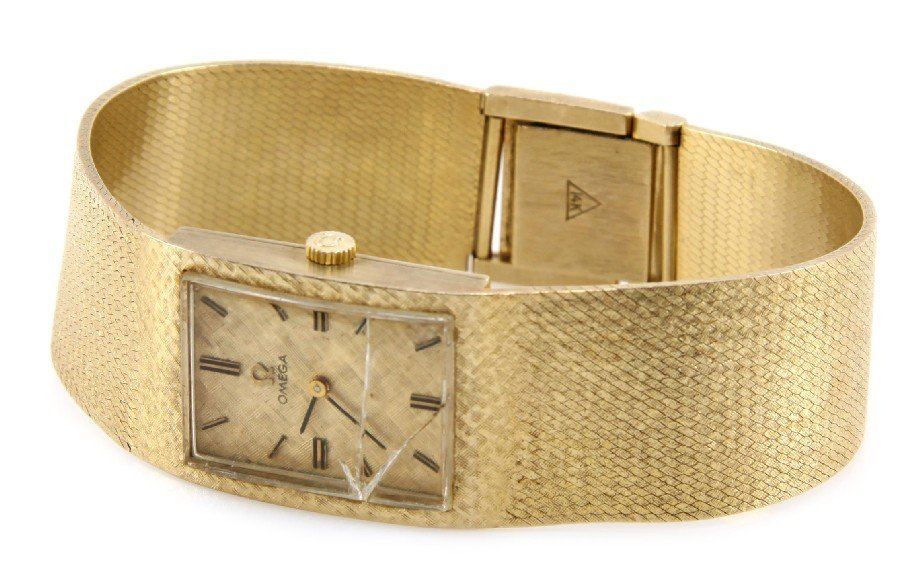 2368: MENS VINTAGE 14K GOLD OMEGA WRIST WATCH