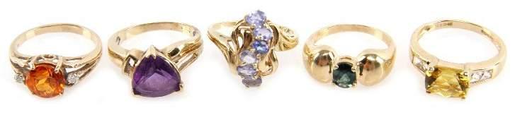 2392: DEALERS LOT OF LADIES ESTATE GOLD GEMSTONE RINGS