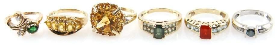 2399 DEALERS LOT OF LADIES GOLD GEMSTONE ESTATE RINGS