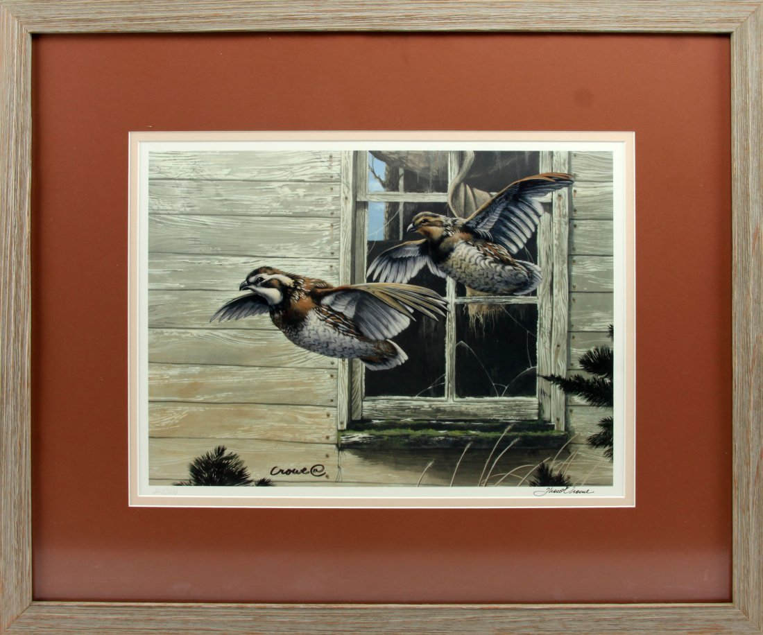 PHILLIP CROWE FRAMED SIGNED QUAIL IN FLIGHT PRINT