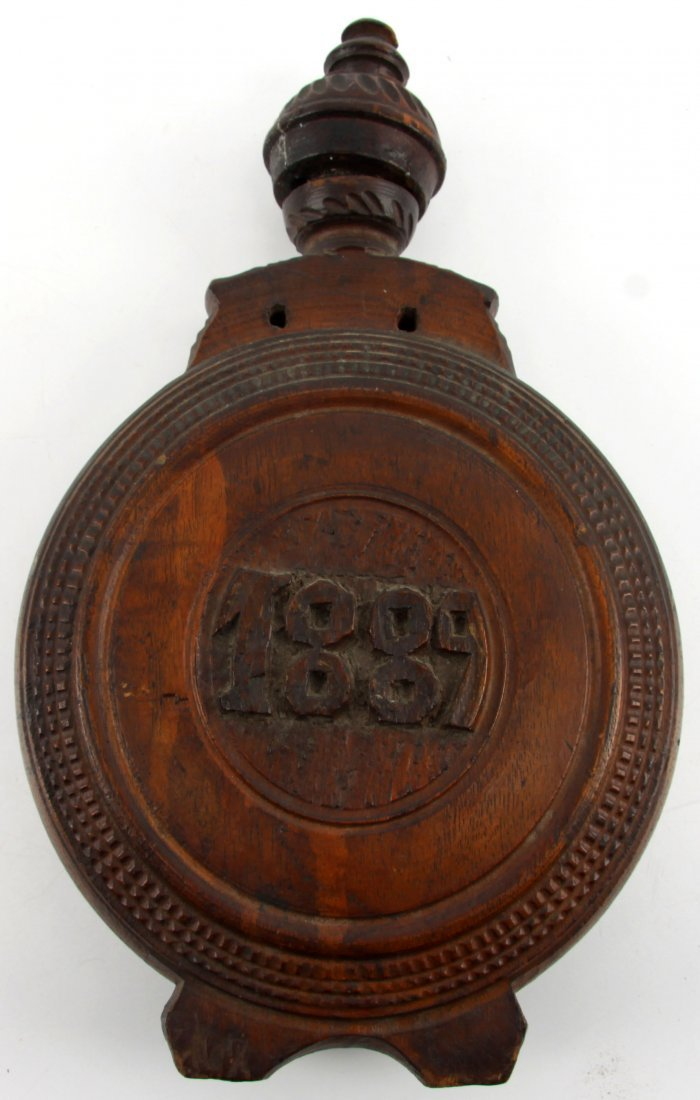 HAND CARVED WOODEN BOTTLE DATED 1889