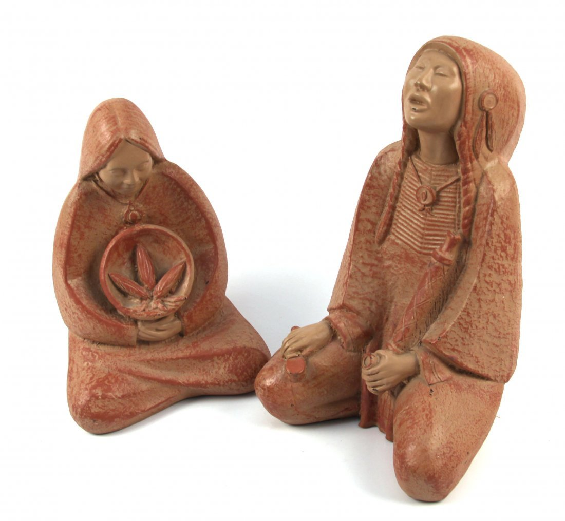 TWO NATIVE AMERICAN FIGURINES