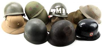 11 MILITARY HELMETS AND HATS US M-1 PITH M1940 +