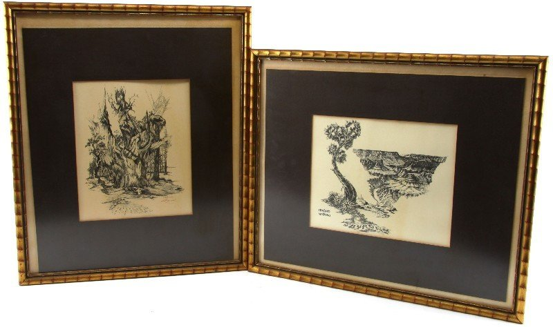 PAIR OF BYRON SIGNED NUMBERED FRAMED PRINTS