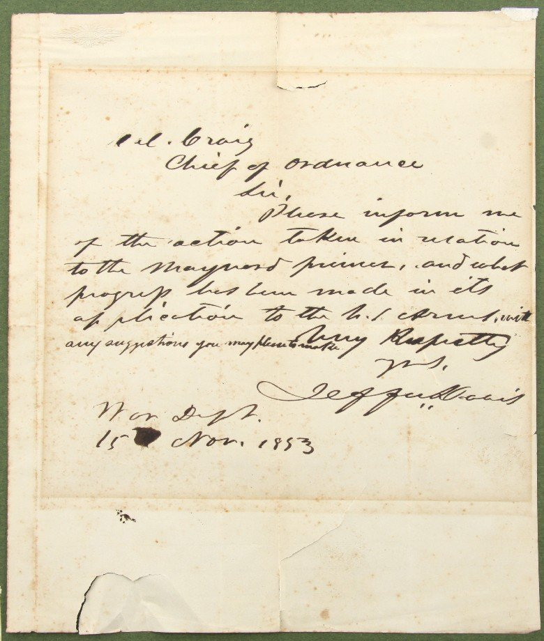 JEFFERSON DAVIS SIGNED WAR DEPT LETTER 1853 W/ COA
