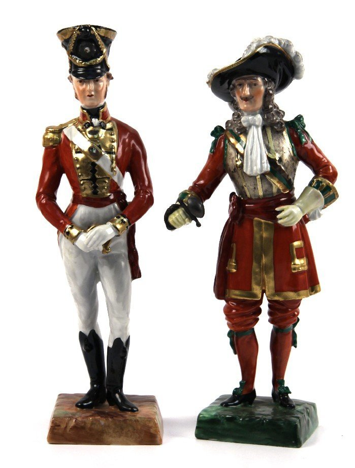 DRESDEN PORCELAIN FIGURINE LOT OF 2 OFFICERS
