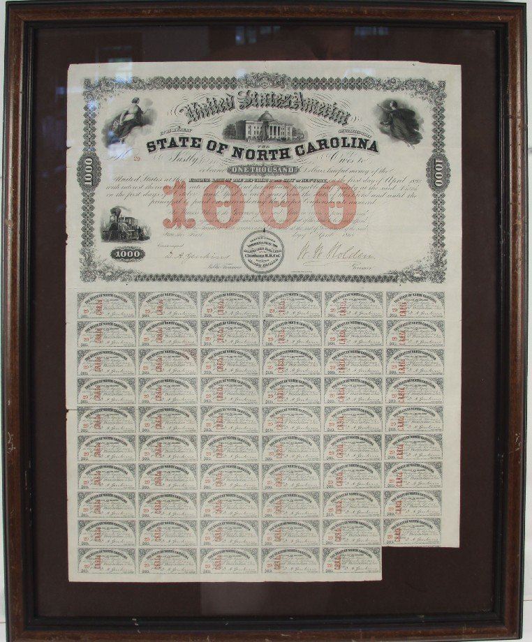 CONFEDERATE STATES CIVIL $1000 UNCUT BOND SHEET