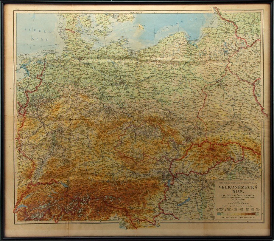 GERMAN EMPIRE 1944 MAP IN CZECH V. NEUBERY & SONS
