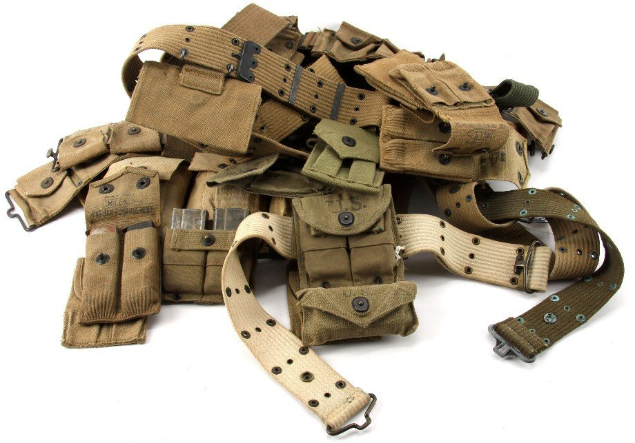 WWII WEB GEAR LOT AMMO BELTS & POUCHES & M1 CLIPS