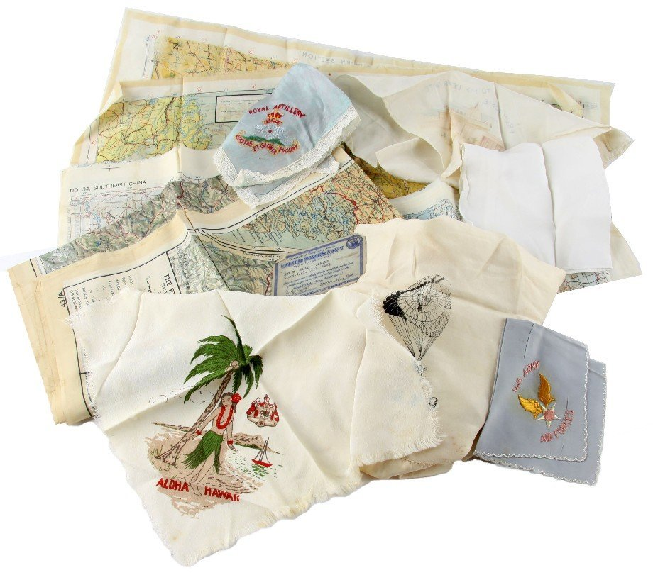 WWII ARMY AIR FORCE PILOTS MAPS & SOUVENIRS NAMED