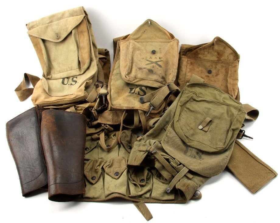 LOT OF WWI & WWII MILITARY HAVERSACKS AND GEAR