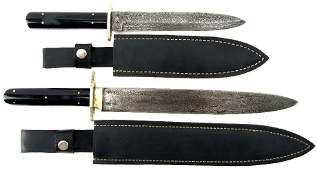 2 VINTAGE J. RODGERS & SONS DAMASCUS BOWIE KNIVES