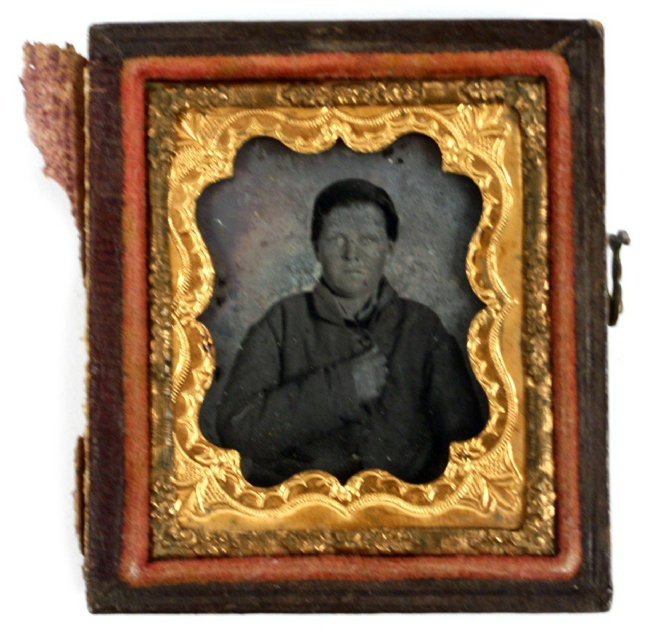 YOUNG CONFEDERATE SOLDIER AMBROTYPE PHOTO