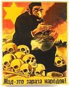GERMAN PROPAGANDA POSTER IN RUSSIAN ANTI-SEMITIC