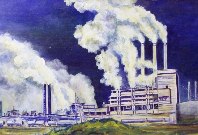PAINTING OF ST JOE FL PAPER MILL SIGNED D TAYLOR