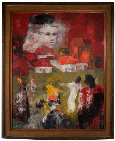 ORIGINAL OIL PAINTING OF ABSTRACT PEOPLE & CITY