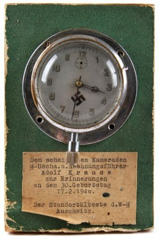 WWII GERMAN CLOCK MOUNTED TO PLAQUE