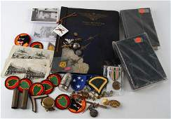 MILITARY COLLECTABLE LOT PATCHES MEDALS PHOTOS ETC