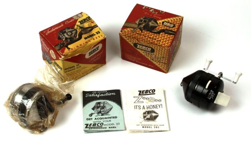 TWO VINTAGE ZEBCO SPINNING REELS 33 AND 202