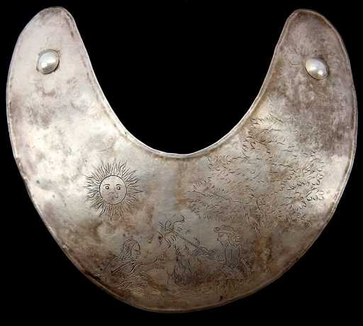 native american trade silver gorget peace pipe