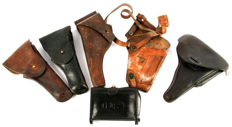 5 LEATHER HOLSTERS & CARTRIDGE BOX WWI WWII & MORE