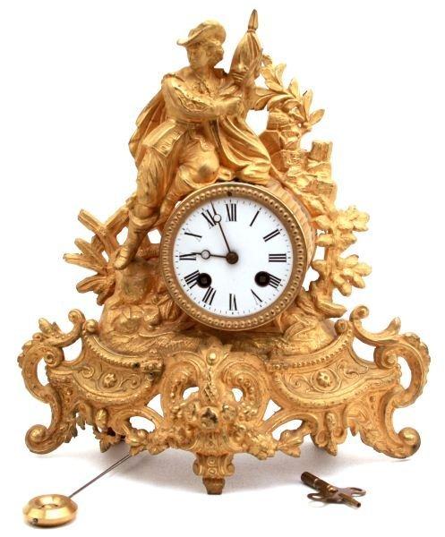 19TH CENTURY FRENCH GILDED FIGURAL STRIKING CLOCK