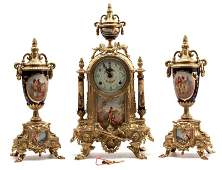 HAND PAINTED FRENCH MANTLE CLOCK AND URN SET