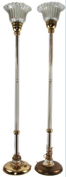 CONTEMPORARY PAIR VETRI MURANO GLASS FLOOR LAMPS