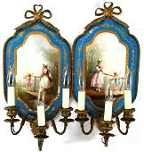 FRENCH PORCELAIN ELECTRIFIED WALL SCONCES PAIR