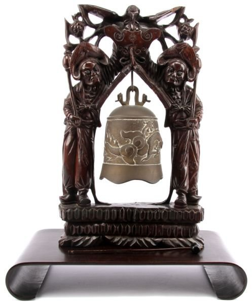 CHINESE TEMPLE BELL IN MOHAGONY FRAME ON BASE