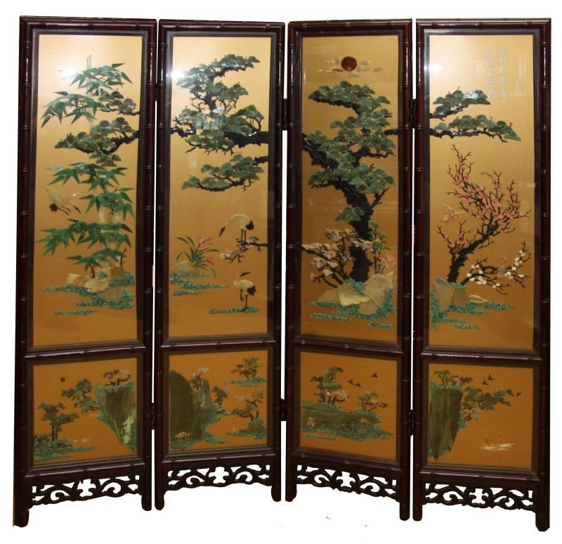 FINE CHINESE FOUR PANEL FLOOR SCREEN WITH JADE