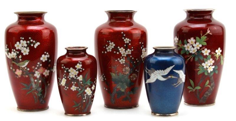 FIVE JAPANESE CLOISONNÈ VASES