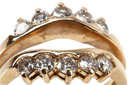LADIES 14K YELLOW GOLD DIAMOND INSERT RING
