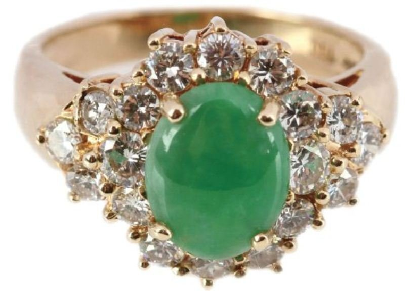 LADIES 18K YELLOW GOLD JADEITE & DIAMOND RING