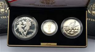 1994 US WORLD CUP 3 COIN GOLD COMMEMORATIVE SET