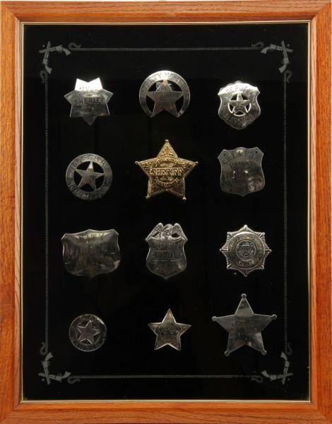 12 SILVER POLICE SHERIFF BADGES FRANKLIN MINT