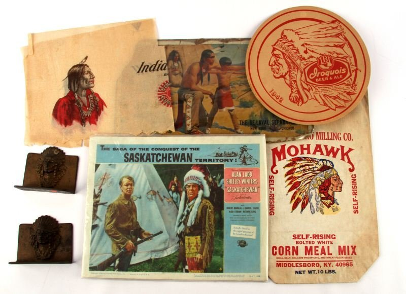NATIVE AMERICAN INDIAN BOOKENDS & ADVERTISING LOT