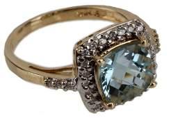 LADIES 14K YELLOW GOLD BLUE TOPAZ  DIAMOND RING