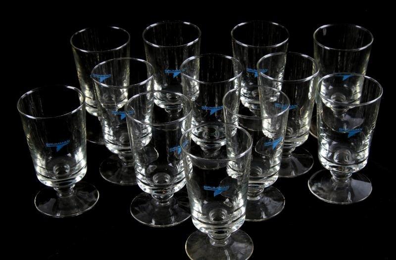 12 GRUMMAN FOOTED HIGHBALL GLASSES