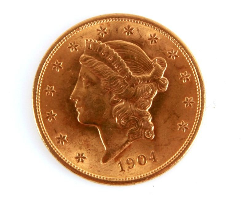 1904 GOLD DOUBLE EAGLE $20 COIN AU