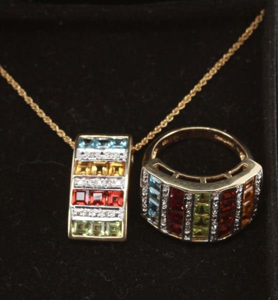LADIES 10K YELLOW GOLD SEMI-PRECIOUS/DIAMOND RING
