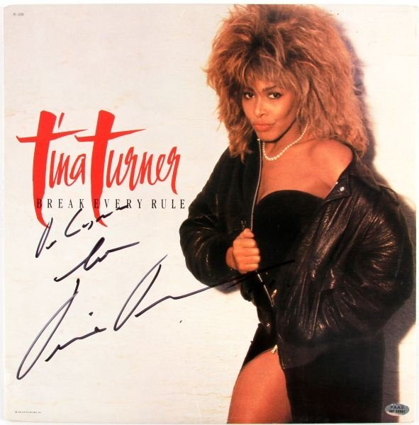 TINA TURNER SIGNED ALBUM COVER WITH COA
