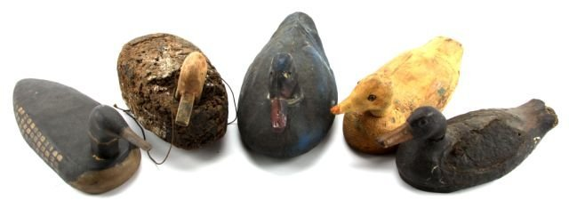 LOT OF FIVE VINTAGE DUCK DECOYS
