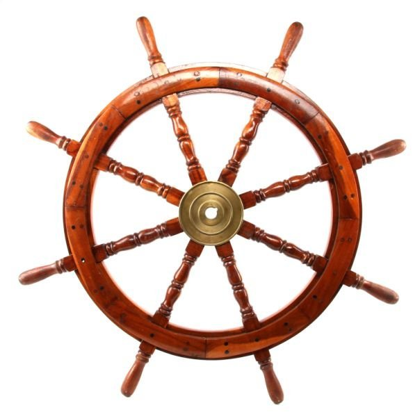 MAHOGANY & BRASS SHIP'S WHEEL C.1940S