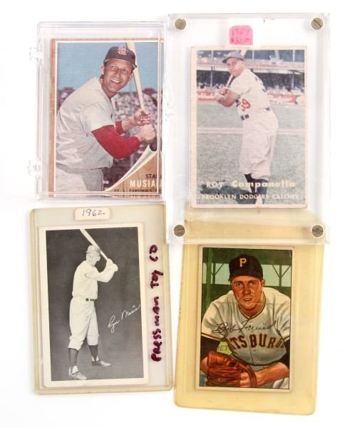 4 CENTERED CAMPANELLA, MUSIAL, MARIS, FRIEND CARDS