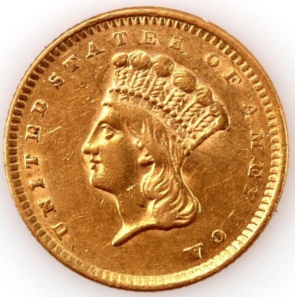 1856 GOLD TYPE III ONE DOLLAR PRINCESS COIN AU